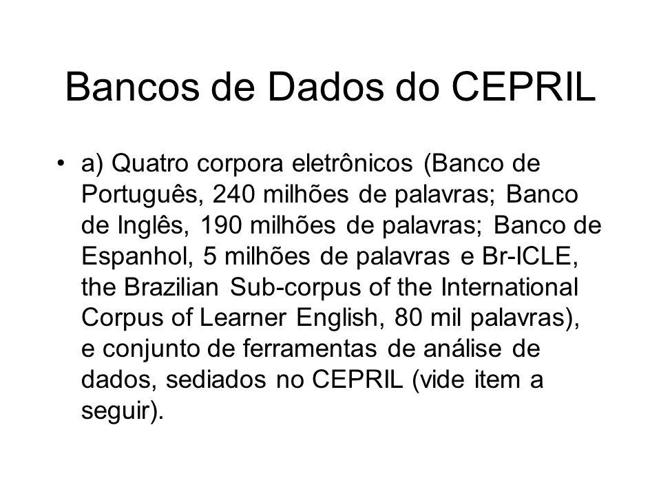 Bancos de Dados do CEPRIL a) Quatro corpora eletrônicos (Banco de Português, 240 milhões de palavras; Banco de Inglês, 190 milhões de palavras; Banco