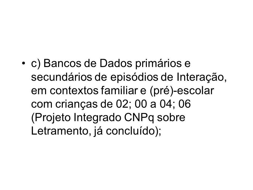 c) Bancos de Dados primários e secundários de episódios de Interação, em contextos familiar e (pré)-escolar com crianças de 02; 00 a 04; 06 (Projeto I