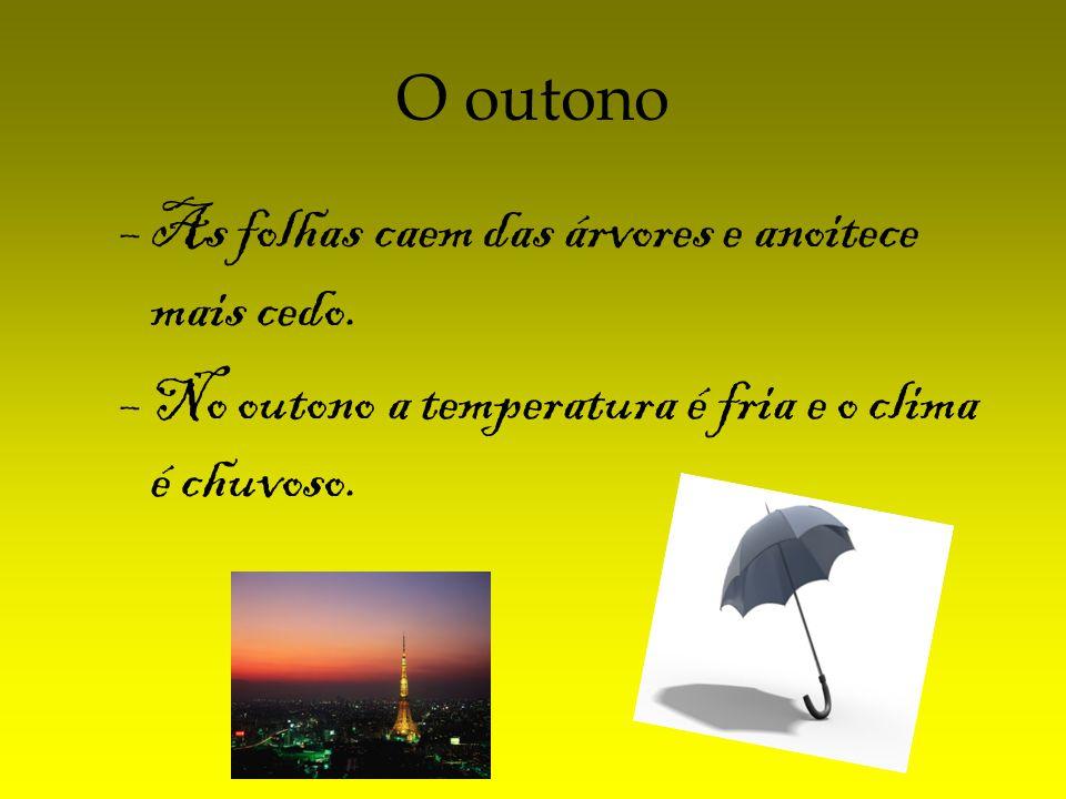 O outono –As folhas caem das árvores e anoitece mais cedo. –No outono a temperatura é fria e o clima é chuvoso.
