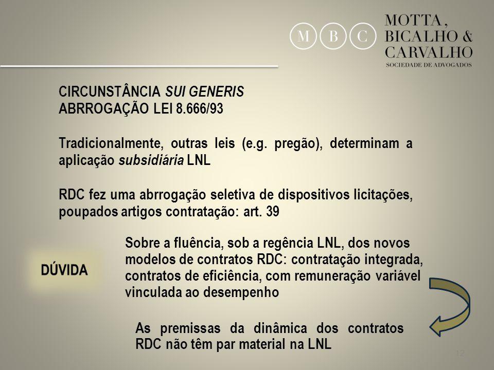 12 CIRCUNSTÂNCIA SUI GENERIS ABRROGAÇÃO LEI 8.666/93 Tradicionalmente, outras leis (e.g. pregão), determinam a aplicação subsidiária LNL RDC fez uma a