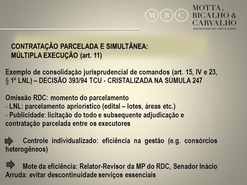 20 Exemplo de consolidação jurisprudencial de comandos (art. 15, IV e 23, § 1º LNL) – DECISÃO 393/94 TCU - CRISTALIZADA NA SÚMULA 247 Omissão RDC: mom