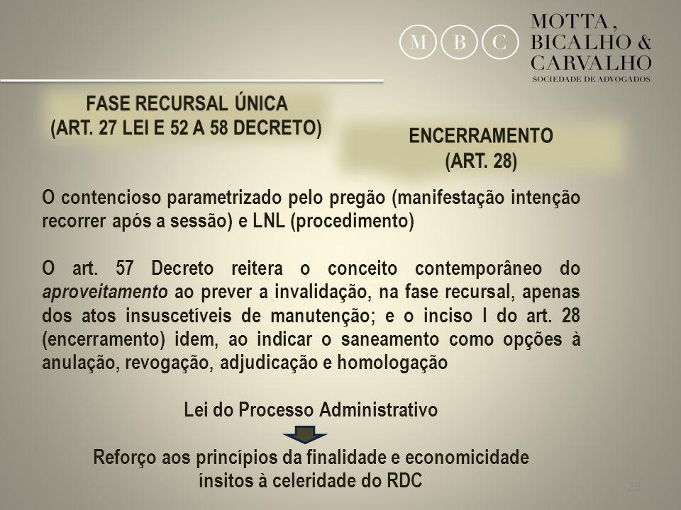 25 O contencioso parametrizado pelo pregão (manifestação intenção recorrer após a sessão) e LNL (procedimento) O art. 57 Decreto reitera o conceito co