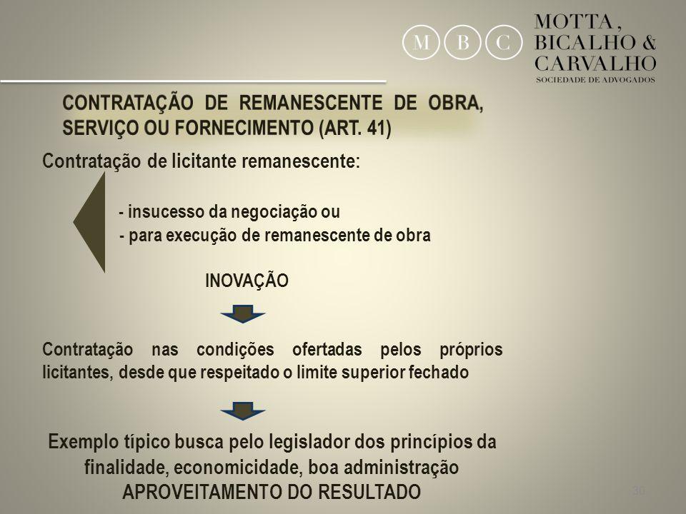30 Contratação de licitante remanescente: - insucesso da negociação ou - para execução de remanescente de obra INOVAÇÃO Contratação nas condições ofer