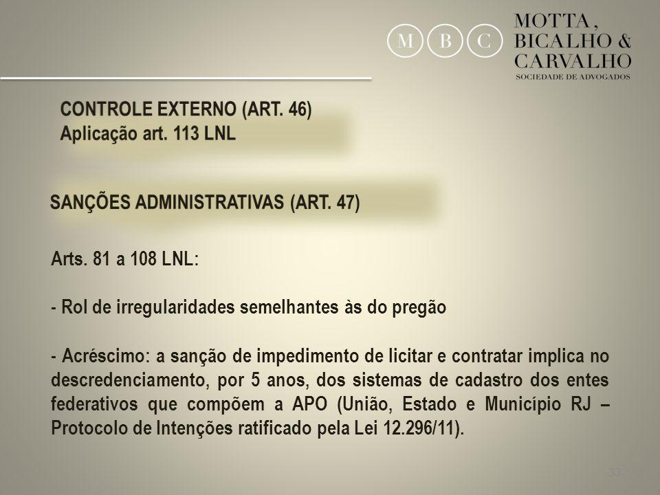33 Arts. 81 a 108 LNL: - Rol de irregularidades semelhantes às do pregão - Acréscimo: a sanção de impedimento de licitar e contratar implica no descre