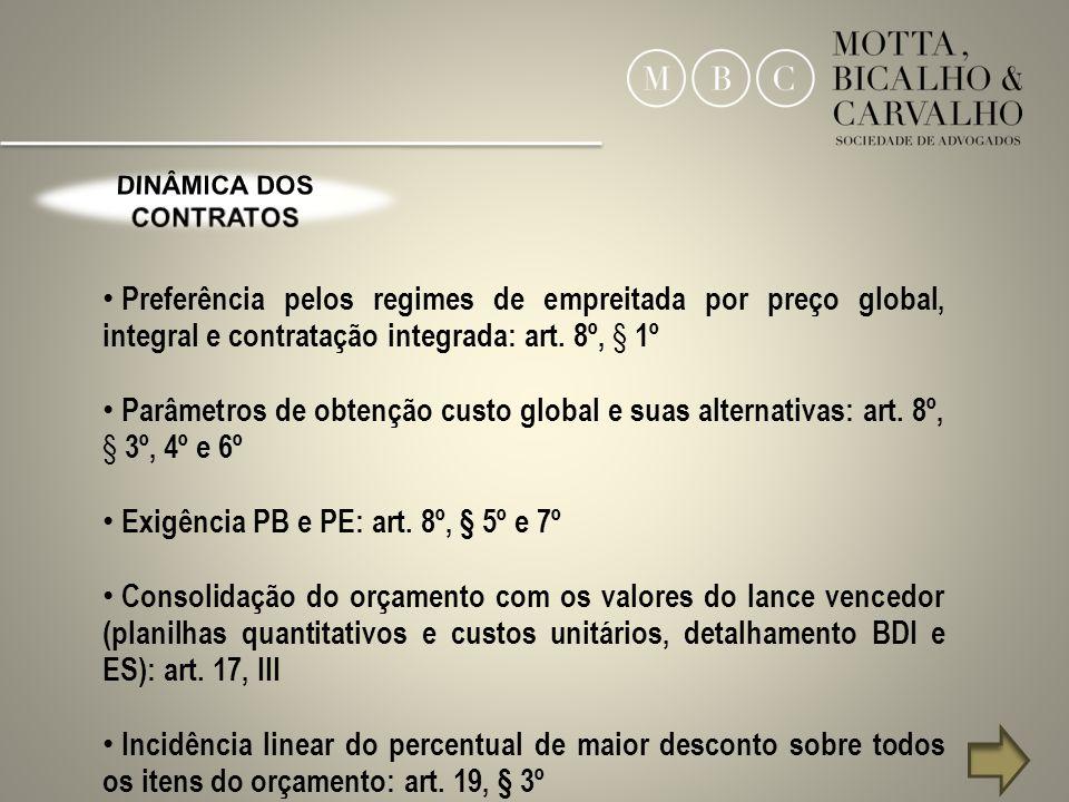 8 Preferência pelos regimes de empreitada por preço global, integral e contratação integrada: art. 8º, § 1º Parâmetros de obtenção custo global e suas