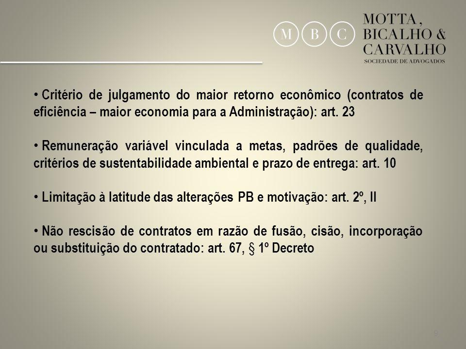 9 Critério de julgamento do maior retorno econômico (contratos de eficiência – maior economia para a Administração): art. 23 Remuneração variável vinc