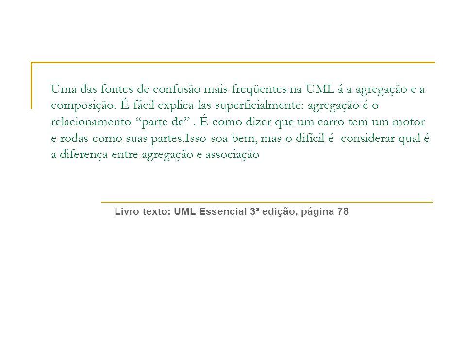 Uma das fontes de confusão mais freqüentes na UML á a agregação e a composição.