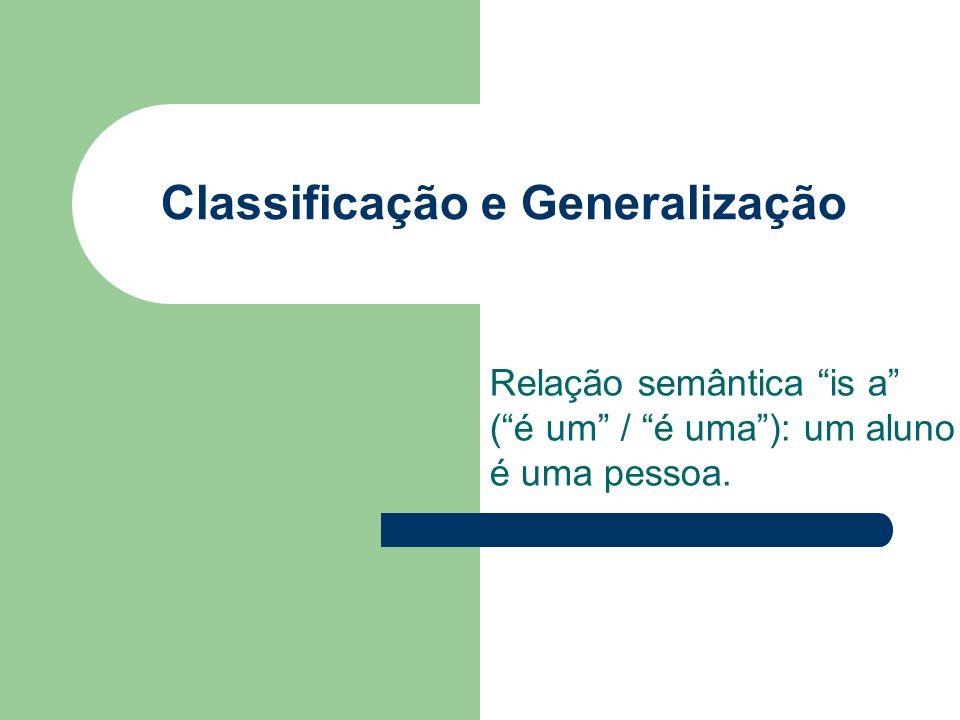 Classificação e Generalização Relação semântica is a (é um / é uma): um aluno é uma pessoa.