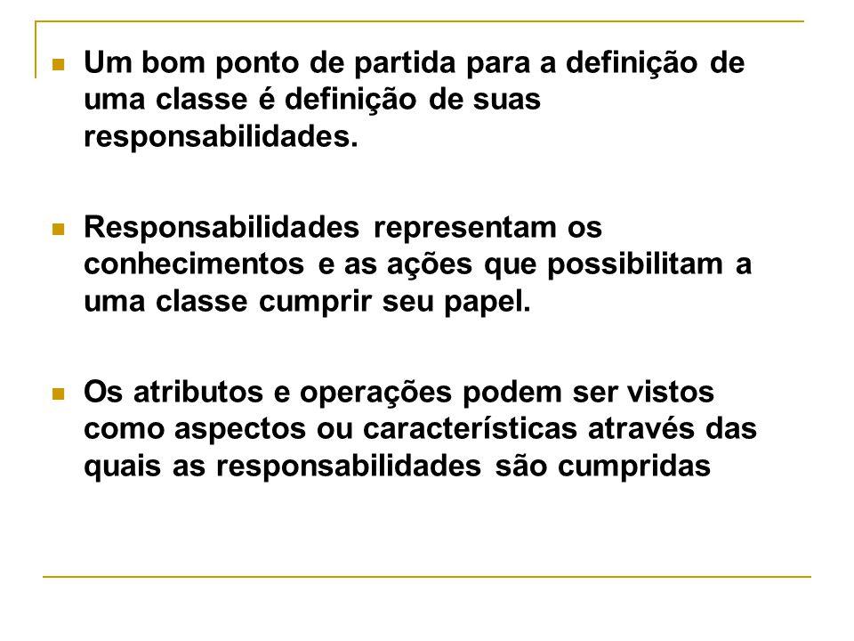Um bom ponto de partida para a definição de uma classe é definição de suas responsabilidades.