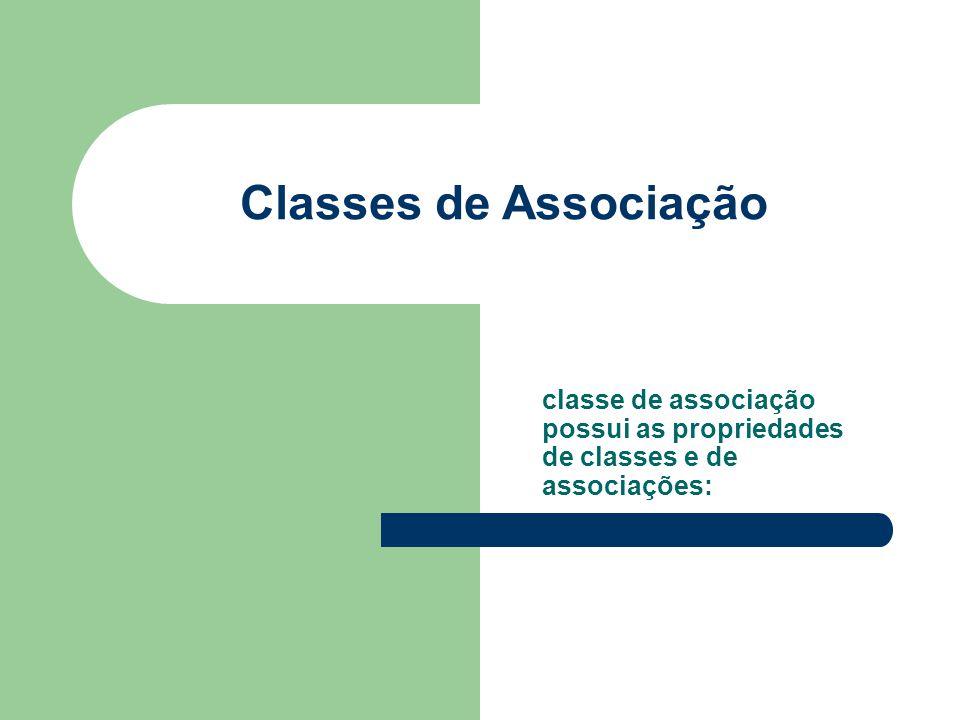 Classes de Associação classe de associação possui as propriedades de classes e de associações: