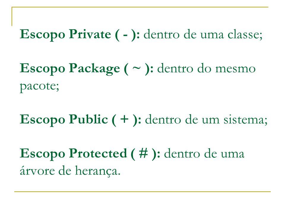 Escopo Private ( - ): dentro de uma classe; Escopo Package ( ~ ): dentro do mesmo pacote; Escopo Public ( + ): dentro de um sistema; Escopo Protected ( # ): dentro de uma árvore de herança.