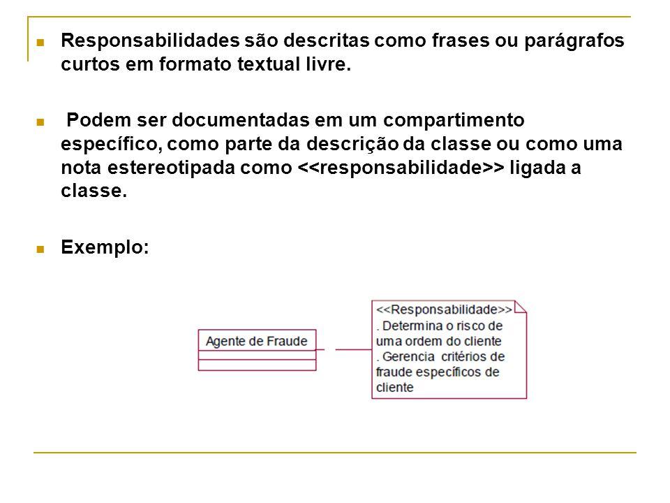 Responsabilidades são descritas como frases ou parágrafos curtos em formato textual livre.