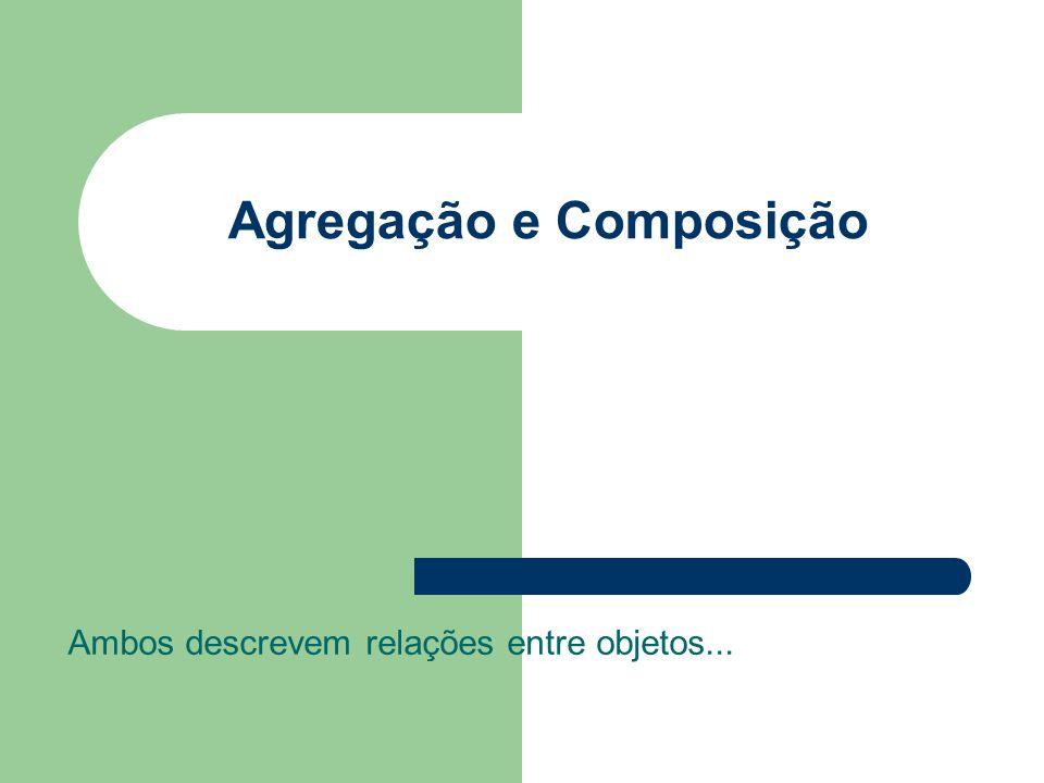 Agregação e Composição Ambos descrevem relações entre objetos...