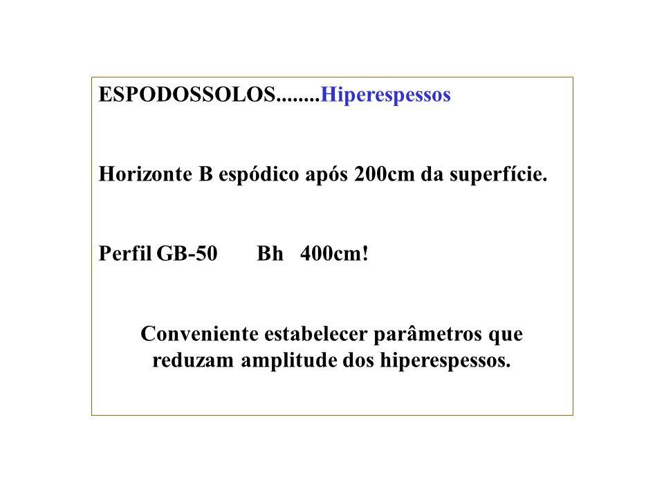 Ortstein Exclusivo dos ESPODOSSOLOS: Dentro de 150cm da superfície do solo. ESPODOSSOLOS FERROCÁRBICOS Órticos dúricos Seção de controle espessa. Quai