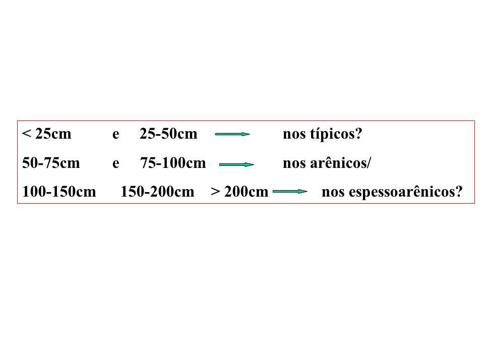 A+E 0 cm 110 cm 0 cm 160 cm 0 cm > 200 cm Bt Areia Perfis de ARGISSOLOS espessoarênicos NEOSSOLO QUARTZARÊNICO ?