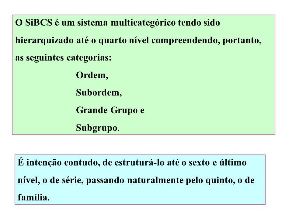 O SiBCS é um sistema multicategórico tendo sido hierarquizado até o quarto nível compreendendo, portanto, as seguintes categorias: Ordem, Subordem, Grande Grupo e Subgrupo.