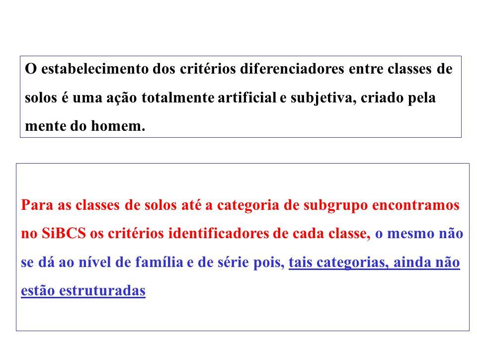A série constituirá, no SiBCS o nível categórico mais baixo, representando, portanto, a classe mais homogênea dentro deste sistema. Esta hierarquia em