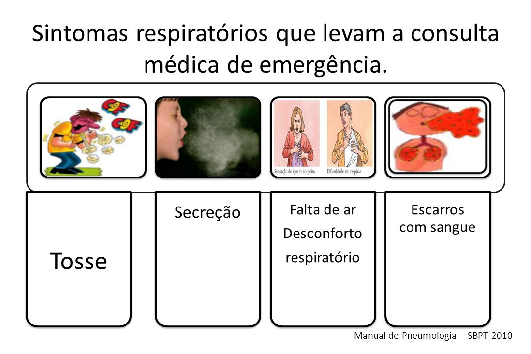 Sintomas respiratórios que levam a consulta médica de emergência. Tosse Secreção Falta de ar Desconforto respiratório Escarros com sangue Manual de Pn