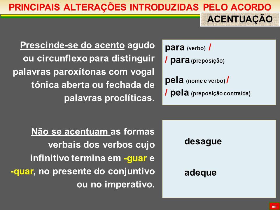 PRINCIPAIS ALTERAÇÕES INTRODUZIDAS PELO ACORDO ACENTUAÇÃO Prescinde-se do acento agudo ou circunflexo para distinguir palavras paroxítonas com vogal tónica aberta ou fechada de palavras proclíticas.