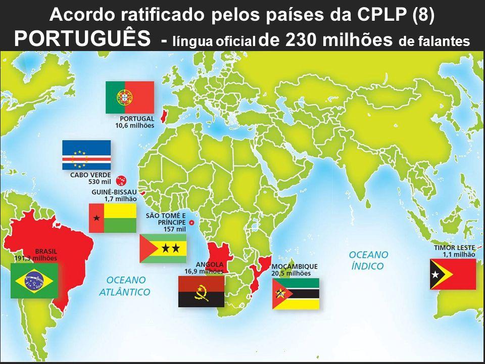 Acordo ratificado pelos países da CPLP (8) PORTUGUÊS - língua oficial de 230 milhões de falantes