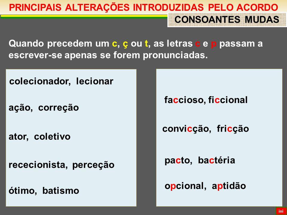 PRINCIPAIS ALTERAÇÕES INTRODUZIDAS PELO ACORDO CONSOANTES MUDAS Quando precedem um c, ç ou t, as letras c e p passam a escrever-se apenas se forem pronunciadas.