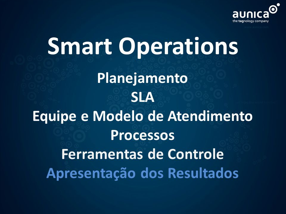 Smart Operations Planejamento SLA Equipe e Modelo de Atendimento Processos Ferramentas de Controle Apresentação dos Resultados `