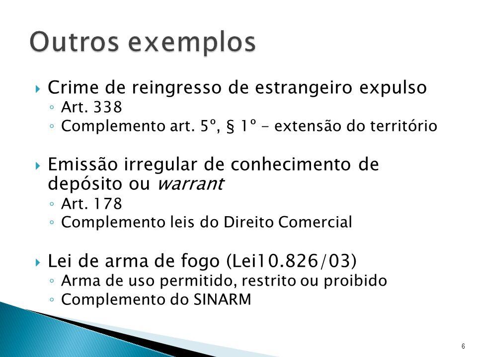 Crime de reingresso de estrangeiro expulso Art. 338 Complemento art. 5º, § 1º - extensão do território Emissão irregular de conhecimento de depósito o
