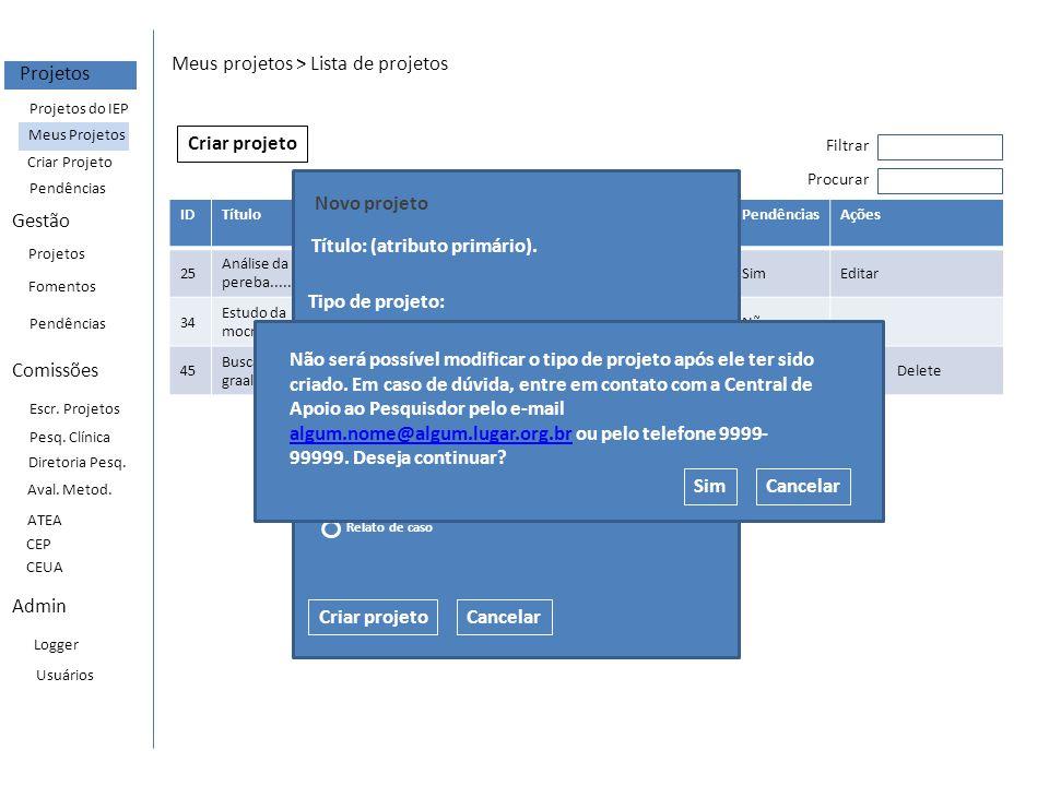 EventRequests Event type = avaliacao_inicial_prneea Request type = avaliacao_inicial_prneea_informacoes_gerais Request type = avaliacao_inicial_prneea_detalhamento Request type = avaliacao_inicial_equipe Request type = avaliacao_inicial_documentos Request type = avaliacao_inicial_submissao Regras (para projetos prneea e ppcp): -O projeto é criado com status = em edição; -Todas as request são criadas com campo status = pendnete.