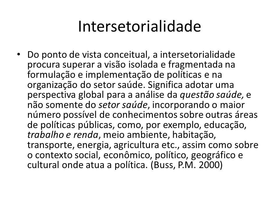 Intersetorialidade Do ponto de vista conceitual, a intersetorialidade procura superar a visão isolada e fragmentada na formulação e implementação de p