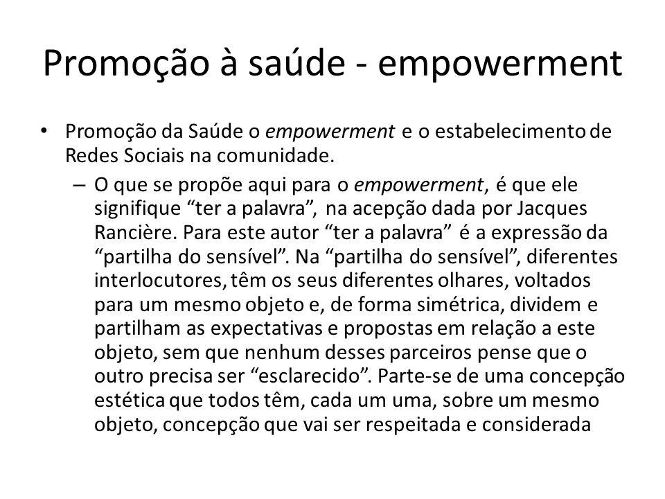Promoção à saúde - empowerment Promoção da Saúde o empowerment e o estabelecimento de Redes Sociais na comunidade. – O que se propõe aqui para o empow