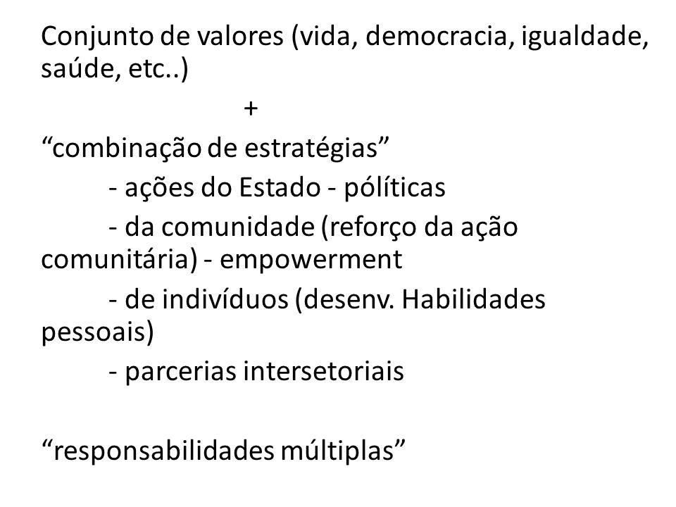 Conjunto de valores (vida, democracia, igualdade, saúde, etc..) + combinação de estratégias - ações do Estado - pólíticas - da comunidade (reforço da