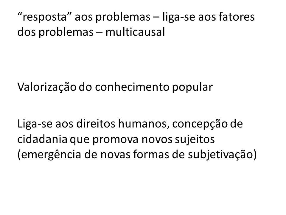 resposta aos problemas – liga-se aos fatores dos problemas – multicausal Valorização do conhecimento popular Liga-se aos direitos humanos, concepção d