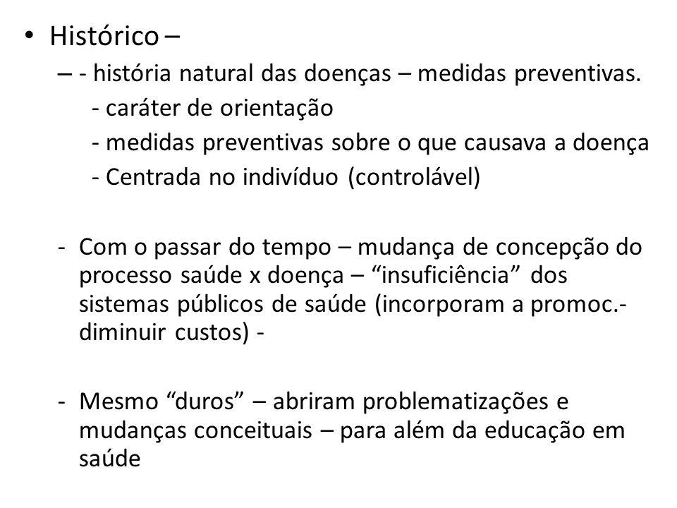 Histórico – – - história natural das doenças – medidas preventivas. - caráter de orientação - medidas preventivas sobre o que causava a doença - Centr