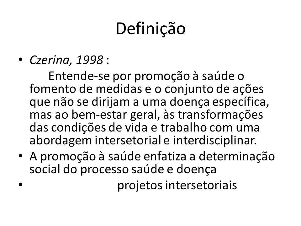 Definição Czerina, 1998 : Entende-se por promoção à saúde o fomento de medidas e o conjunto de ações que não se dirijam a uma doença específica, mas a