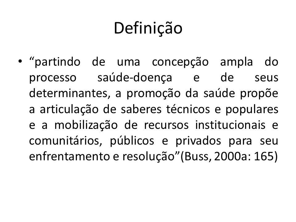 Definição partindo de uma concepção ampla do processo saúde-doença e de seus determinantes, a promoção da saúde propõe a articulação de saberes técnic