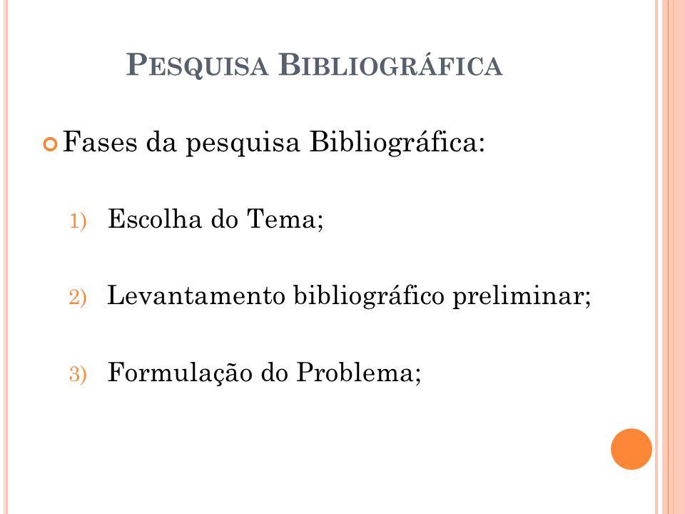 Fases da pesquisa Bibliográfica: 1) Escolha do Tema; 2) Levantamento bibliográfico preliminar; 3) Formulação do Problema; P ESQUISA B IBLIOGRÁFICA
