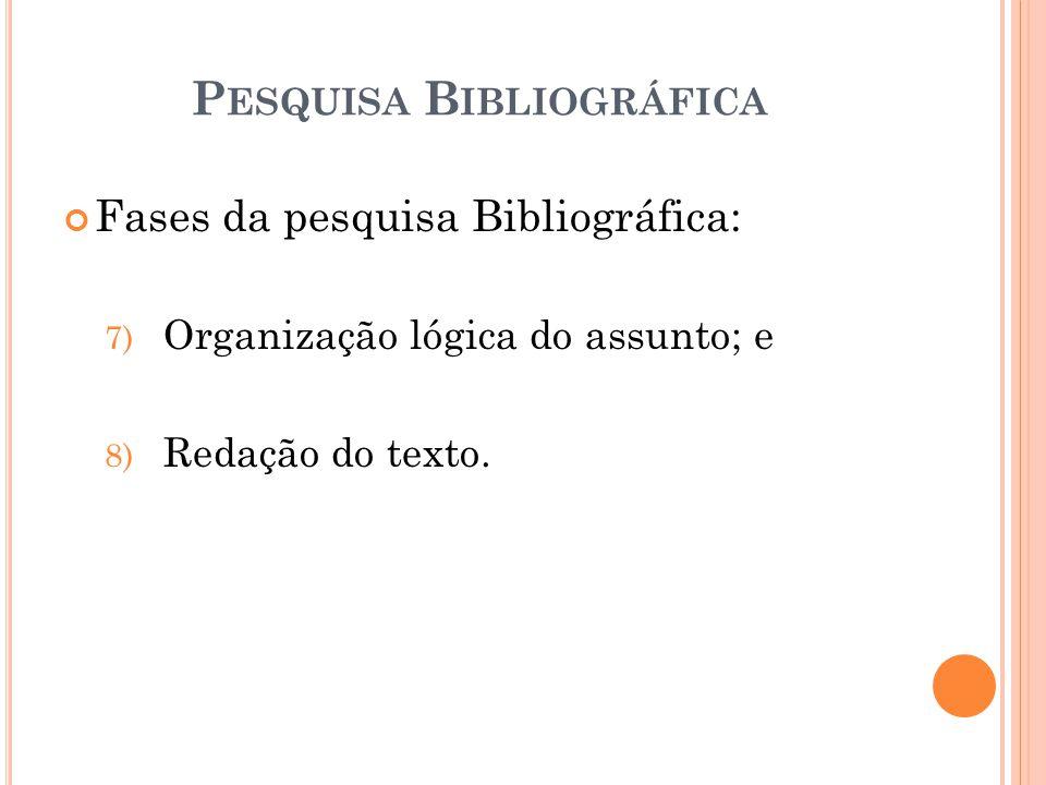 Fases da pesquisa Bibliográfica: 7) Organização lógica do assunto; e 8) Redação do texto.