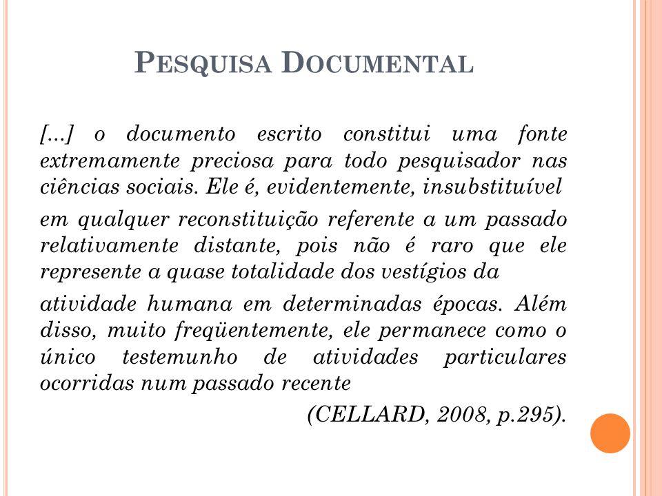 [...] o documento escrito constitui uma fonte extremamente preciosa para todo pesquisador nas ciências sociais.