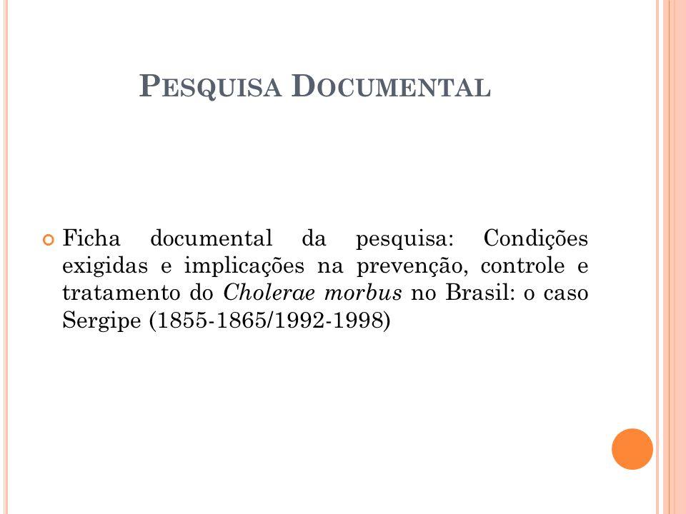 Ficha documental da pesquisa: Condições exigidas e implicações na prevenção, controle e tratamento do Cholerae morbus no Brasil: o caso Sergipe (1855-1865/1992-1998) P ESQUISA D OCUMENTAL