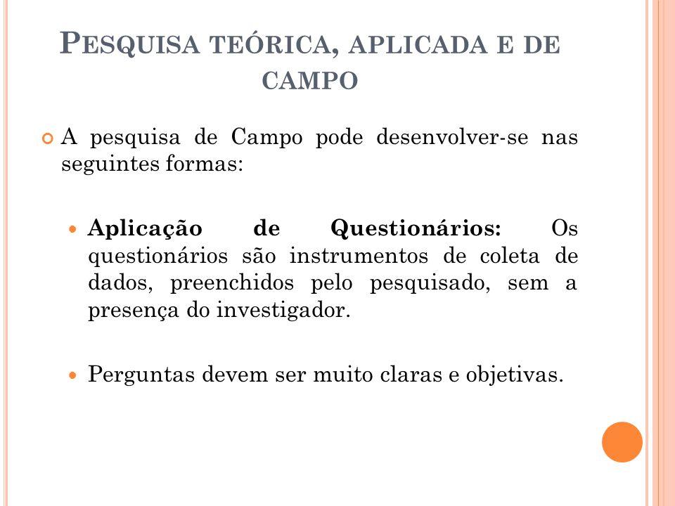 A pesquisa de Campo pode desenvolver-se nas seguintes formas: Aplicação de Questionários: Os questionários são instrumentos de coleta de dados, preenchidos pelo pesquisado, sem a presença do investigador.