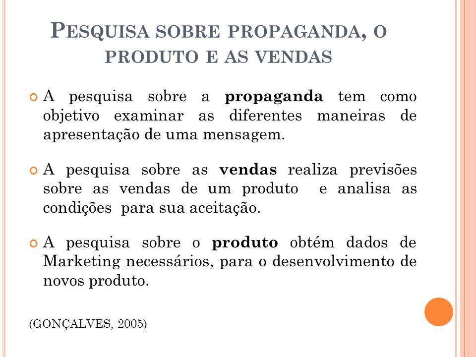 A pesquisa sobre a propaganda tem como objetivo examinar as diferentes maneiras de apresentação de uma mensagem.
