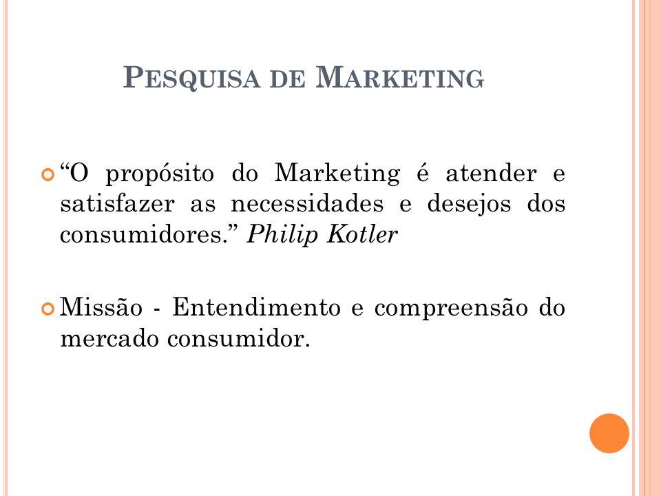 O propósito do Marketing é atender e satisfazer as necessidades e desejos dos consumidores.
