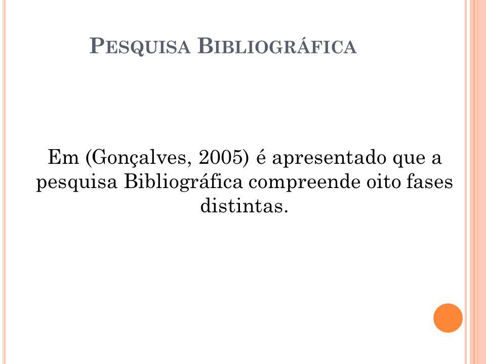 Em (Gonçalves, 2005) é apresentado que a pesquisa Bibliográfica compreende oito fases distintas.