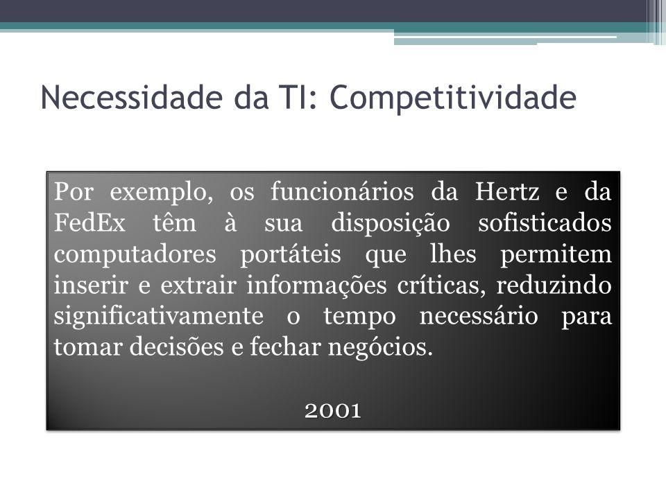 Necessidade da TI: Competitividade Por exemplo, os funcionários da Hertz e da FedEx têm à sua disposição sofisticados computadores portáteis que lhes permitem inserir e extrair informações críticas, reduzindo significativamente o tempo necessário para tomar decisões e fechar negócios.2001 2001