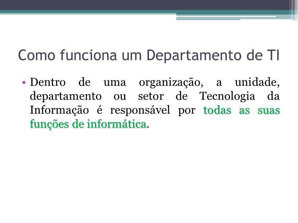 Como funciona um Departamento de TI todas as suas funções de informáticaDentro de uma organização, a unidade, departamento ou setor de Tecnologia da Informação é responsável por todas as suas funções de informática.