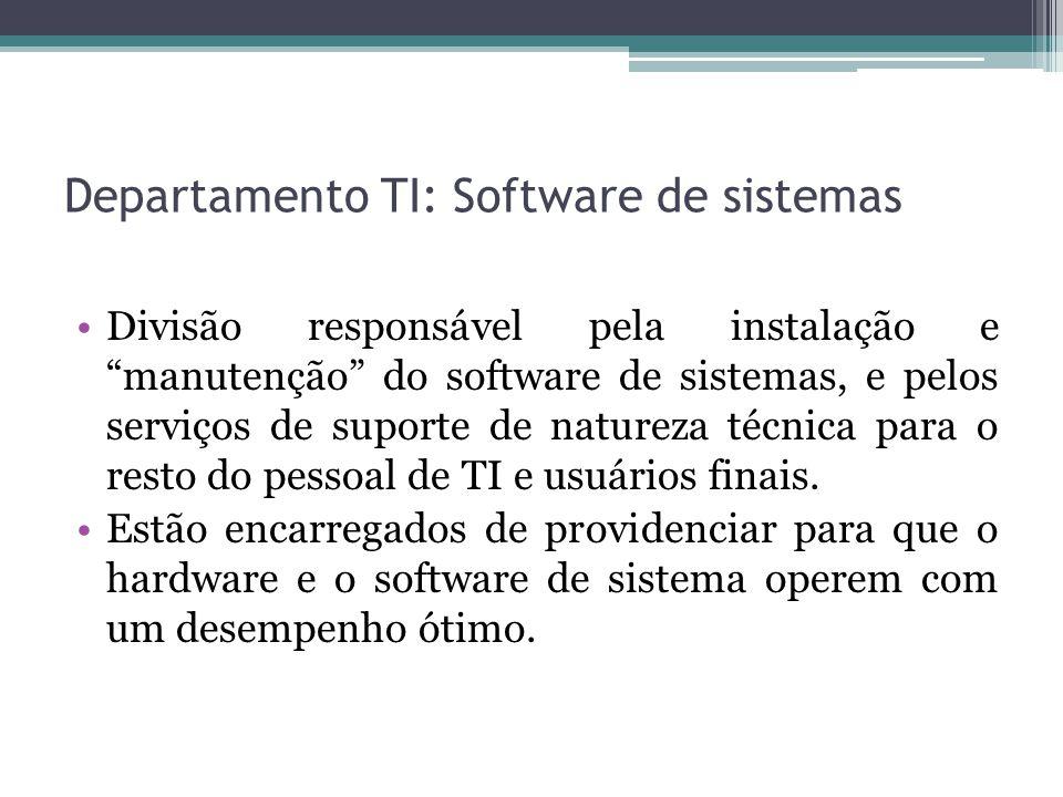 Departamento TI: Software de sistemas Divisão responsável pela instalação e manutenção do software de sistemas, e pelos serviços de suporte de natureza técnica para o resto do pessoal de TI e usuários finais.