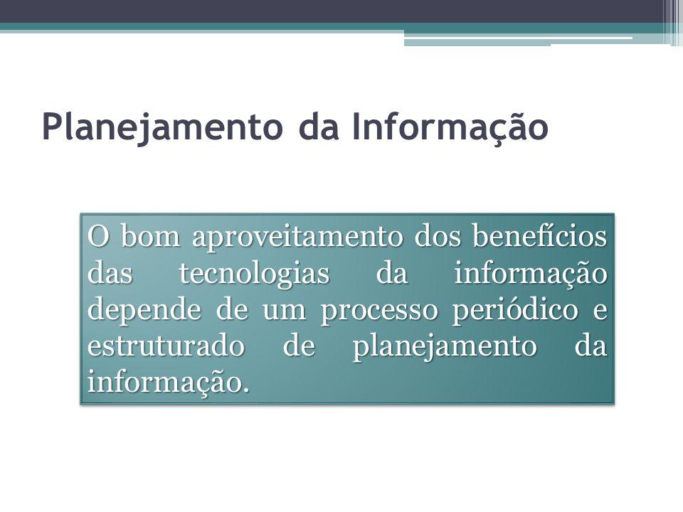 Planejamento da Informação O bom aproveitamento dos benefícios das tecnologias da informação depende de um processo periódico e estruturado de planejamento da informação.