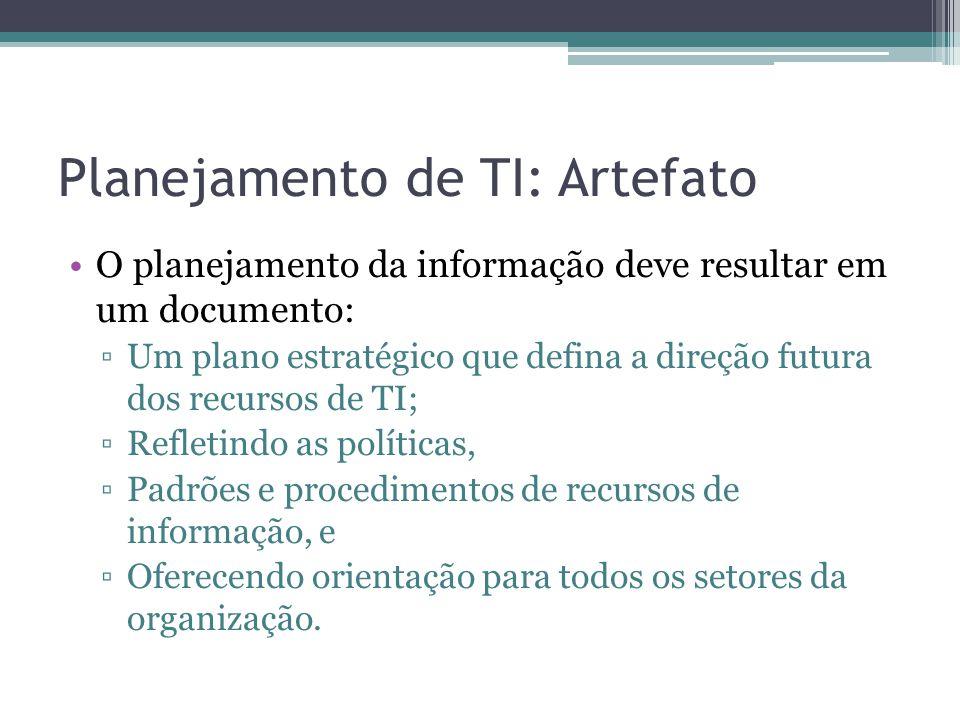 Planejamento de TI: Artefato O planejamento da informação deve resultar em um documento: Um plano estratégico que defina a direção futura dos recursos de TI; Refletindo as políticas, Padrões e procedimentos de recursos de informação, e Oferecendo orientação para todos os setores da organização.