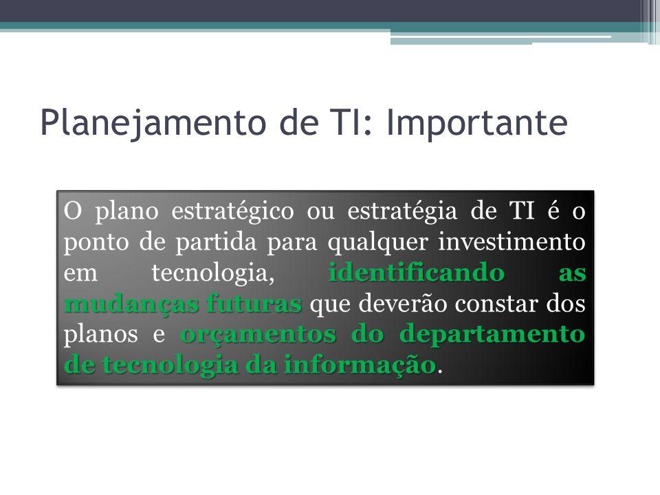 Planejamento de TI: Importante identificando as mudanças futuras orçamentos do departamento de tecnologia da informação O plano estratégico ou estratégia de TI é o ponto de partida para qualquer investimento em tecnologia, identificando as mudanças futuras que deverão constar dos planos e orçamentos do departamento de tecnologia da informação.