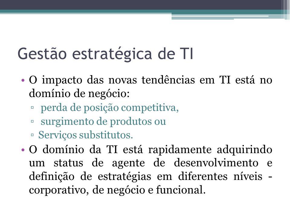 Gestão estratégica de TI O impacto das novas tendências em TI está no domínio de negócio: perda de posição competitiva, surgimento de produtos ou Serviços substitutos.